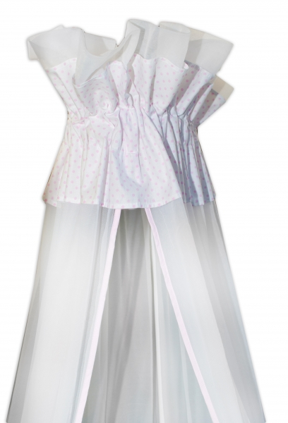 Luxusní moskytiéra 160x400cm - Medvídek Maxik - bílé, růžové tečky