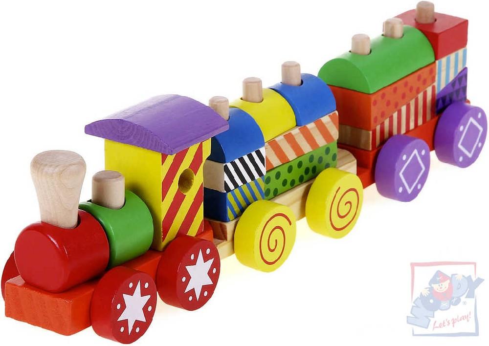 WOODY DŘEVO Baby vláček barevný navlékací set s kostkami pro miminko