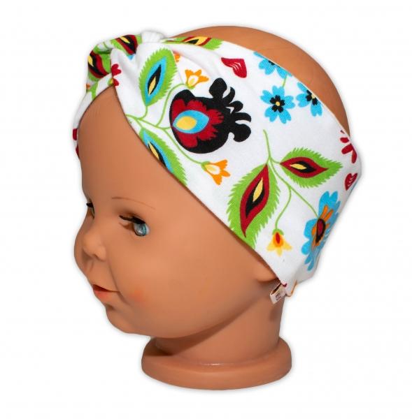 baby-nellys-hand-made-bavlnena-celenka-dvouvrstva-louka-ruzovo-bila-1-3-roky