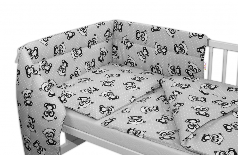 3-dílná sada mantinel s povlečením 135x100 + zavinovačka zdarma - Baby Panda, šedá - 135x1