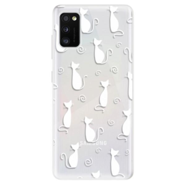 Odolné silikonové pouzdro iSaprio - Cat pattern 05 - white - Samsung Galaxy A41