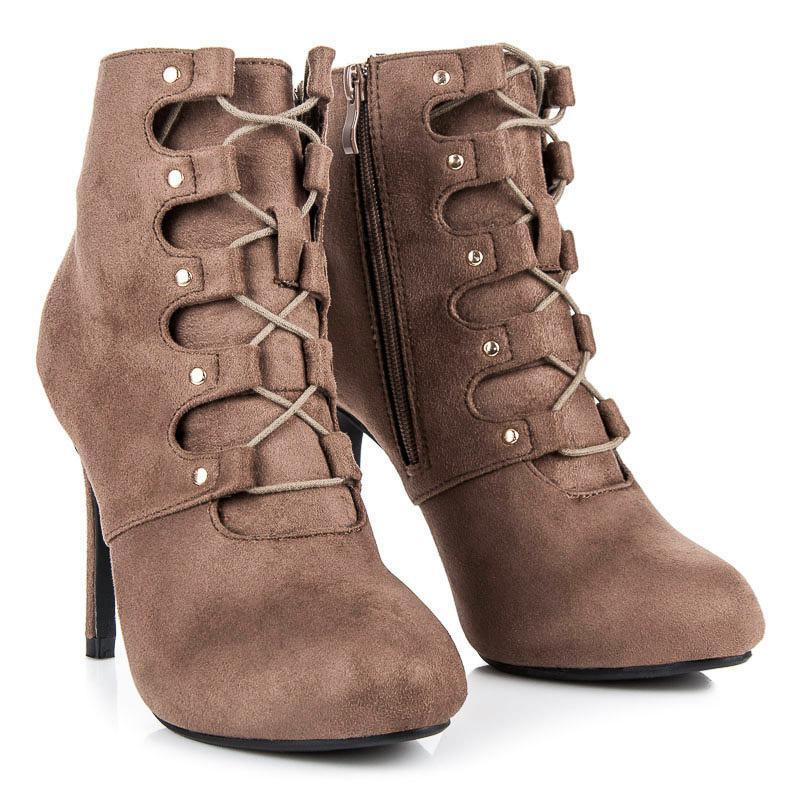Dámské kotníkové boty 1609-212TA - C´M Paris - Hnědá/36
