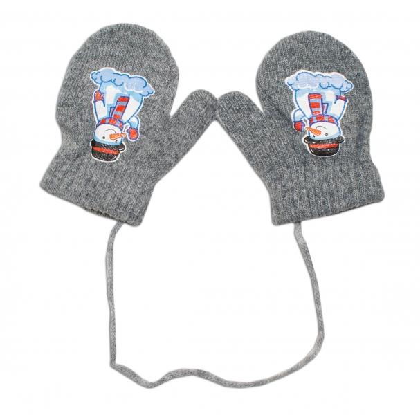 Zimní kojenecké rukavičky vlněné - se šňůrkou a potiskem YO