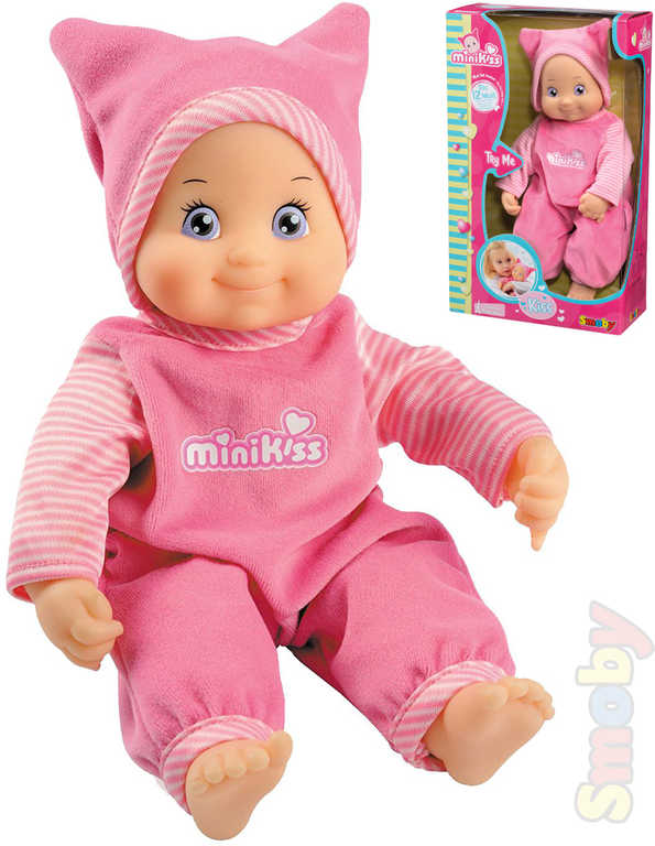 SMOBY Panenka miminko Minikiss růžová 27cm na baterie Zvuk