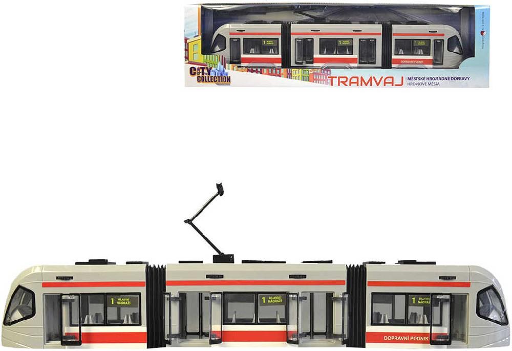Tramvaj 46 cm česká MHD City Collection funkční dveře v krabici plast