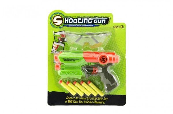Pistole 21cm na pěnové náboje 5ks plast 2 barvy na kartě