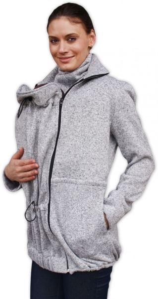Nosící fleecová mikina - pro nošení dítěte v předu i vzadu na těle - šedý