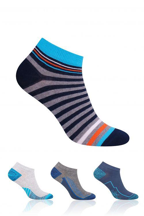 Chlapecké ponožky Steven wzór art.004 35-37 - Bílá-červená/35-37