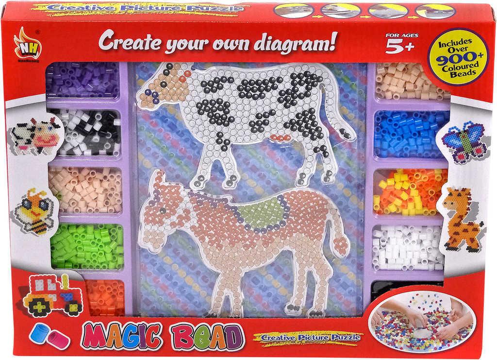 Kreativní set korálky zažehlovací s předlohami zvířátka v krabici