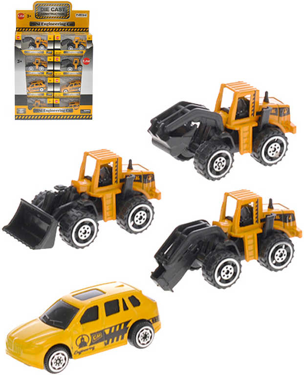 Stroj stavební mini autíčko 7cm kov 4 druhy v krabičce
