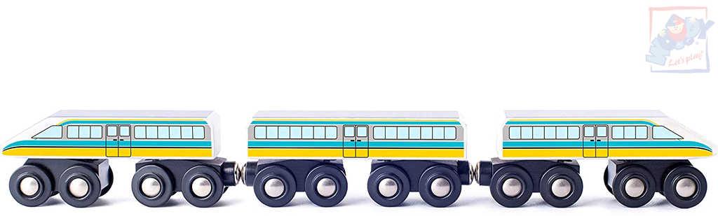 WOODY DŘEVO Vláček rychlovlak 3 vagonky příslušenství k dráze