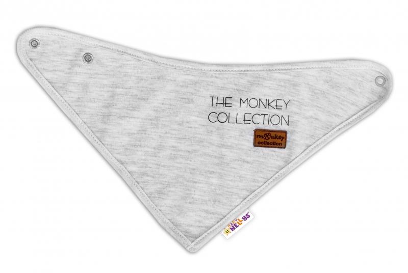 Dětský bavlněný šátek na krk Baby Nellys, Monkey - sv.šedý melírek