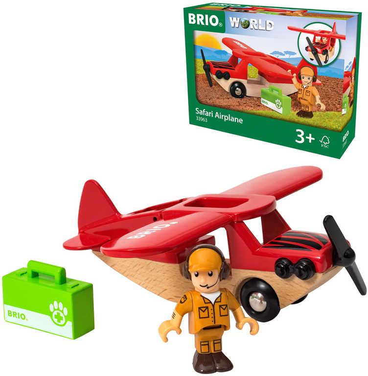 BRIO DŘEVO Safari letadlo set s figurkou doplněk k vláčkodráze