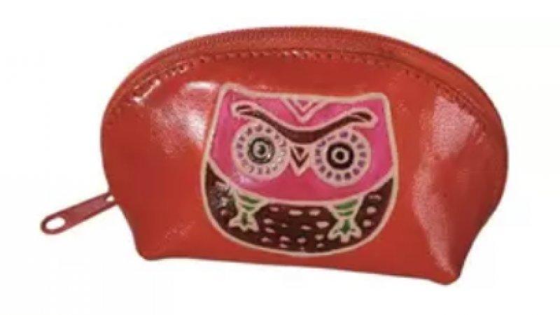 Kožená peněženka se sovou