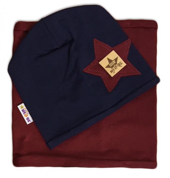 baby-nellys-bavlnena-sada-cepicka-a-nakrcnik-nelly-star-granat-s-bordo-44-48-cepicky-obvod