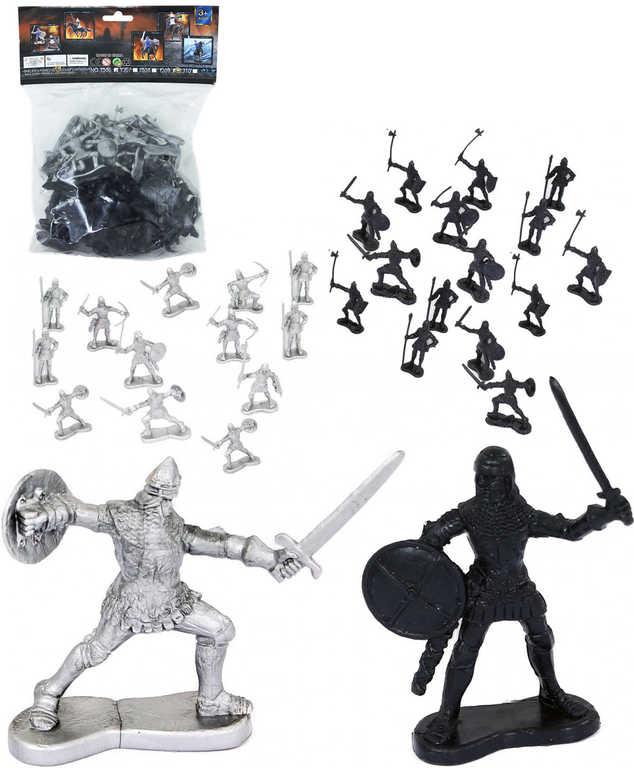 Rytíři se zbraní figurky plastové 6cm dvoubarevný bojový set 36ks v sáčku