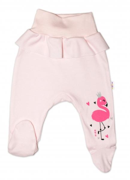 Baby Nellys Bavlněné kojenecké polodupačky, Flamingo s volánkem - růžové, vel.