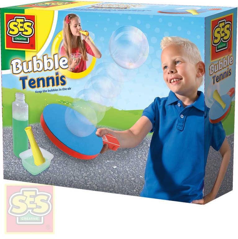 SES CREATIVE Zábavný tenis s bublinami set pěnová pálka s bublifukem a doplňky