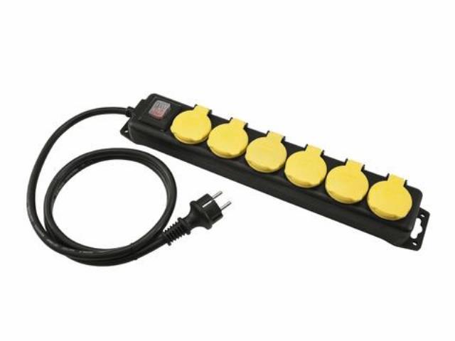 Distributor 6, 6x el. zásuvka, vypínač, IP44, černý, 3m