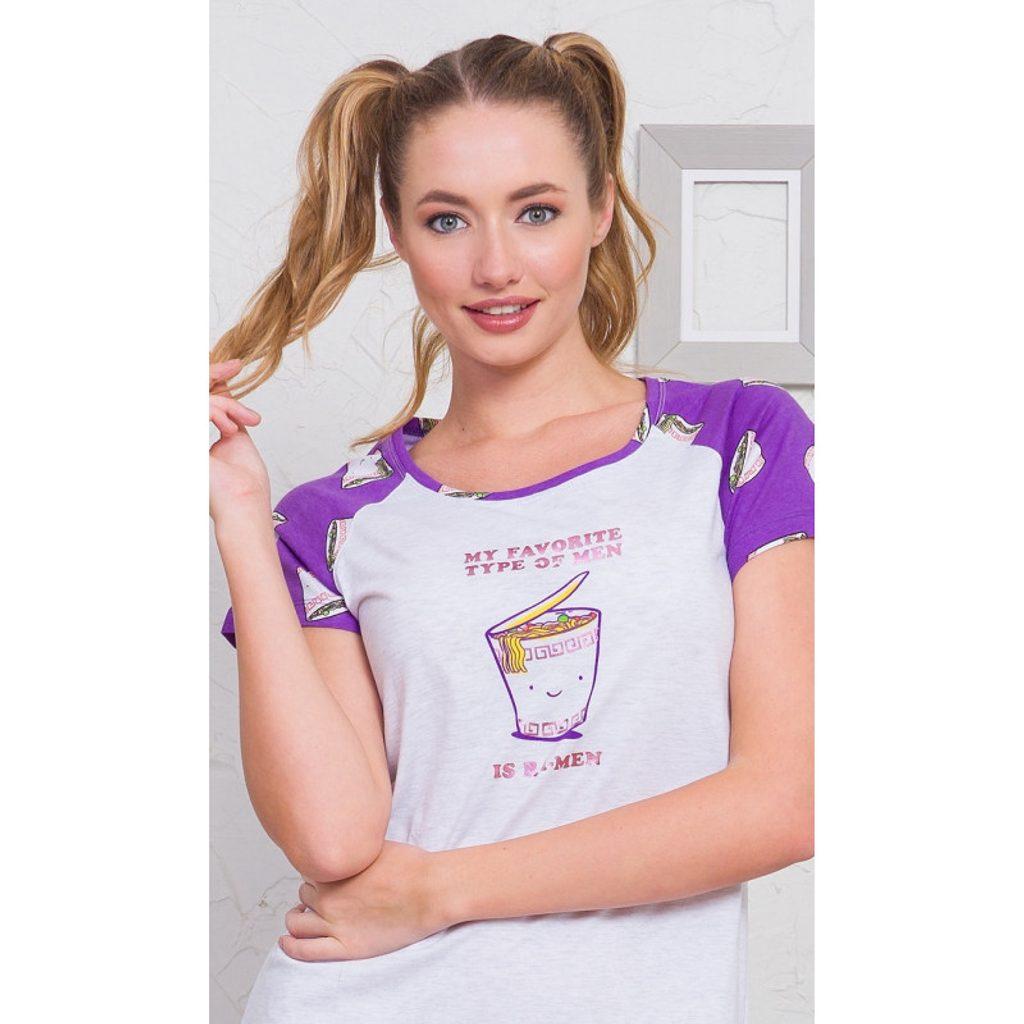 Dámská noční košile s krátkým rukávem Erika - světle šedá