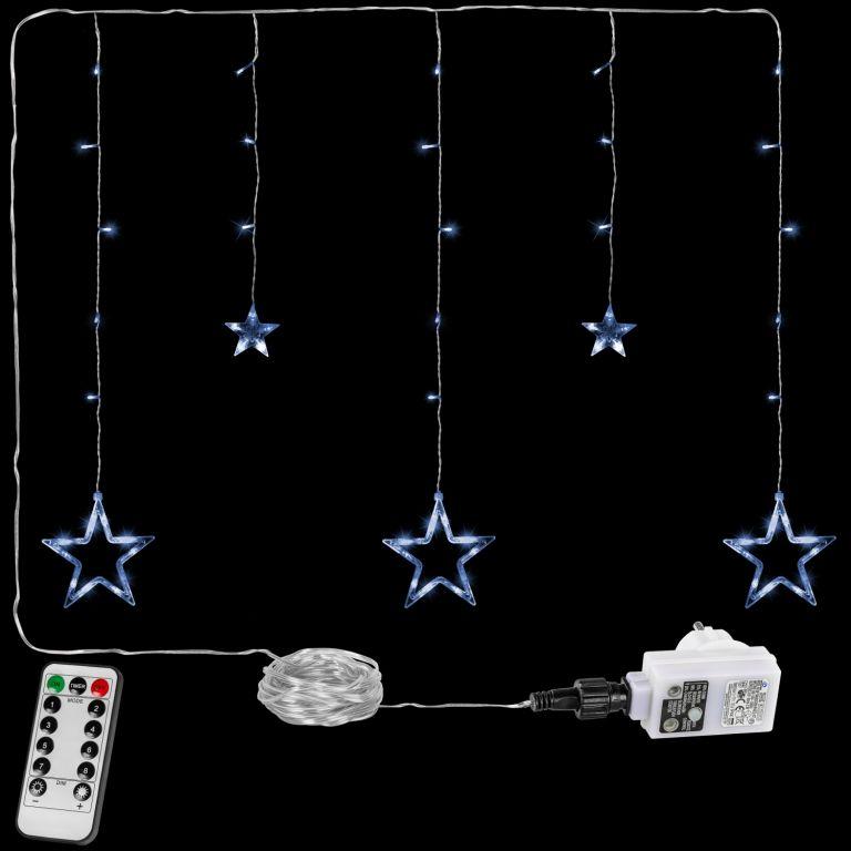 Vánoční závěs - 5 hvězd, 61 LED, studeně bílý + ovladač