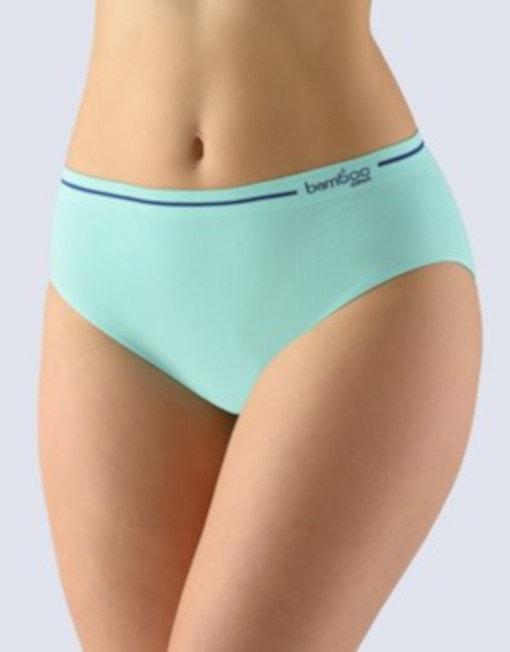 GINA dámské kalhotky klasické, širší bok, bezešvé Bamboo 00023P - peprmint tm.popel - S/M