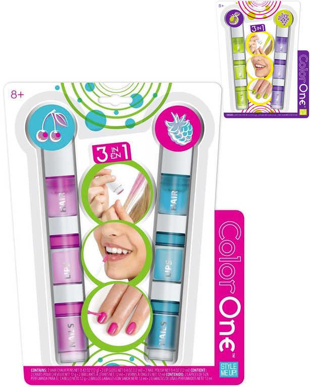 SMU Lesk na rty lak na nehty křídy na vlasy set 3v1 duopack Style Me Up 2 druhy