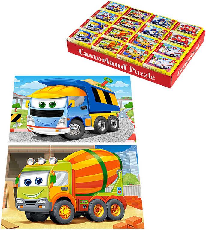 Minipuzzle Auta pohádková 54 dílků 16,5x11cm skládačka v krabičce 8 druhů