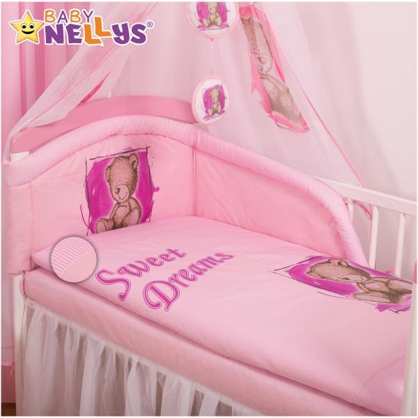Baby Nellys Povlečení Sweet Dreams by Teddy - růžový - 135x100
