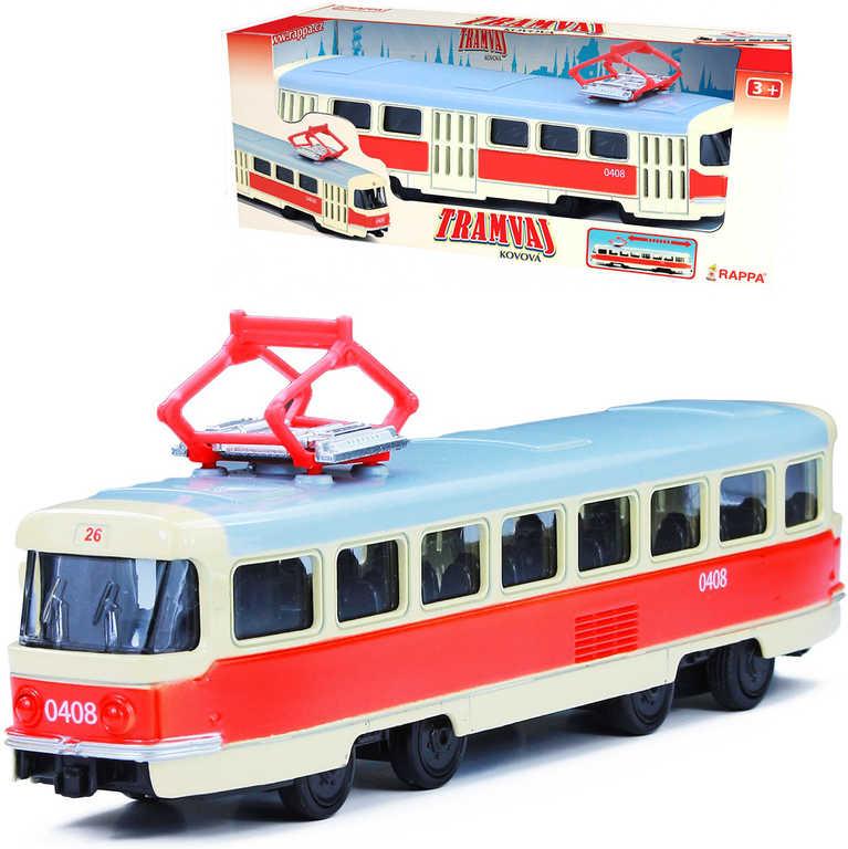 Tramvaj česká 16 cm kovový retro model na zpětný nátah v krabici