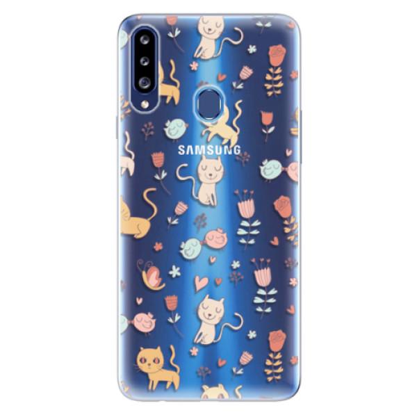Odolné silikonové pouzdro iSaprio - Cat pattern 02 - Samsung Galaxy A20s