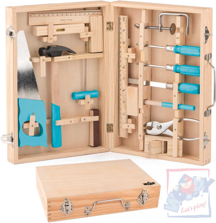 WOODY DŘEVO Nářadí dětské kovový set 16 ks v dřevěném kufříku
