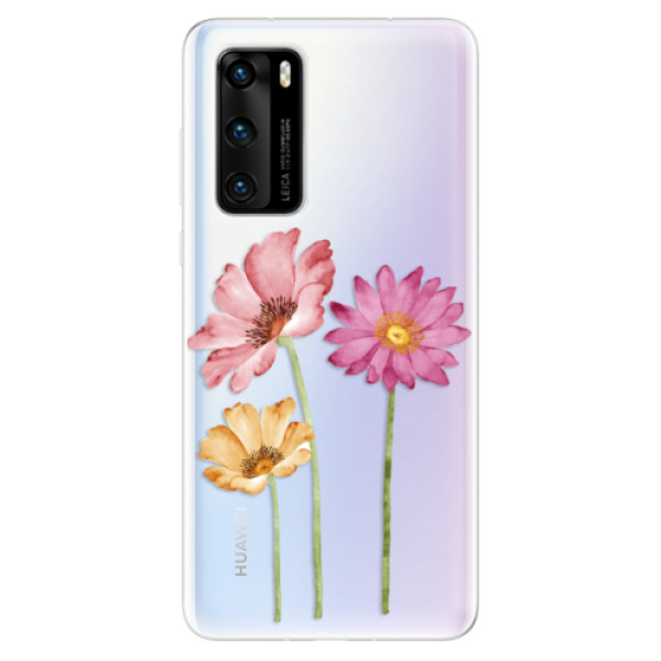 Odolné silikonové pouzdro iSaprio - Three Flowers - Huawei P40