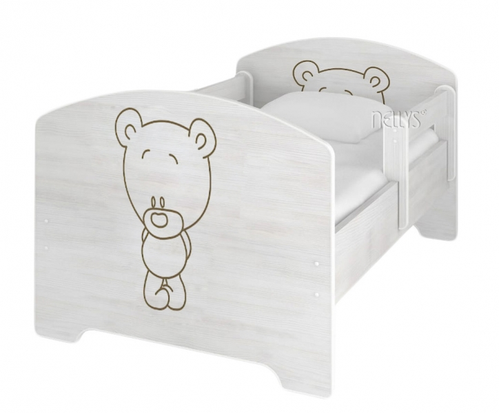 NELLYS Dětská postel BABY BEAR v barvě norské borovice + matrace zdarma - 140x70