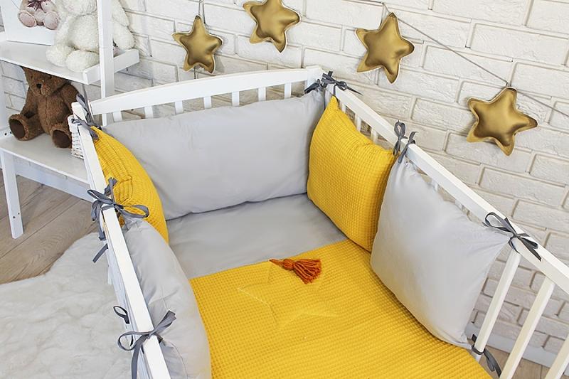 baby-nellys-sada-polstarkovy-mantinel-vafel-s-povlecenim-horcicova-seda-120x90