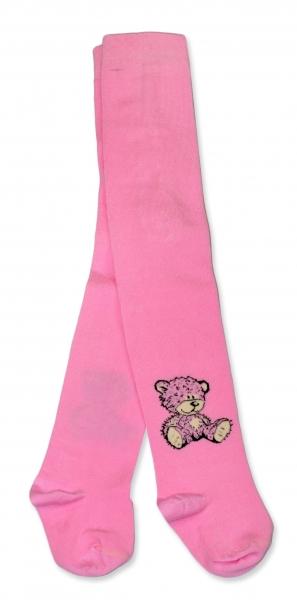 Bavlněné punčocháče Baby Nellys ® - Sweet Teddy - sv. růžové, vel.
