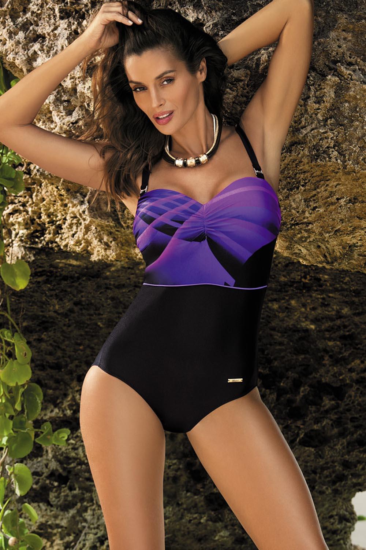 Dámské jednodílné plavky Selena M-420 - Marko - Fialovo-černá 3XL empty 2d86143671