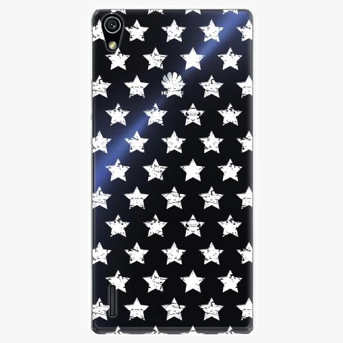 Plastový kryt iSaprio - Stars Pattern - white - Huawei Ascend P7