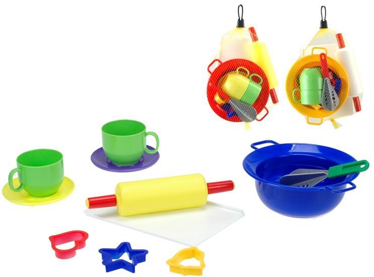 Kuchyňský plastový set 11ks nádobí a doplňky v síťce
