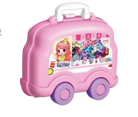 Qman Build N Learn 2905 Stavební box autíčko růžové