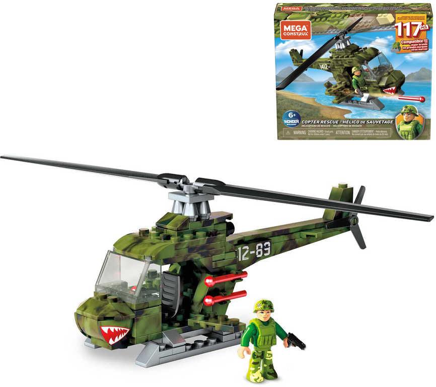 MEGA BLOKS Vojenský vrtulník záchranný 117 dílků plast STAVEBNICE