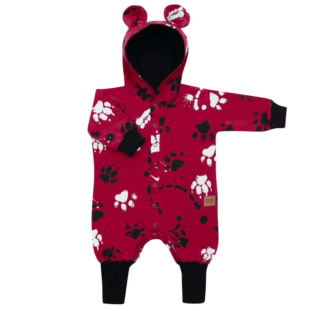 Kojenecký bavlněný overal s kapucí a oušky New Baby Paw - tmavě - růžová/68 (4-6m)