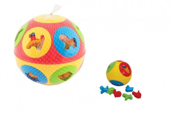 Vkládačka míč plast průměr 13cm - 2 barvy v síťce 12m+