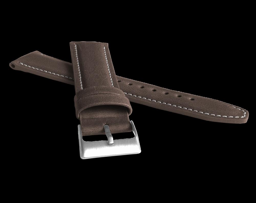 Polstrovaný tmavě hnědý prošitý řemínek LAVVU CLASSIC z luxusní kůže Top Grain - 22