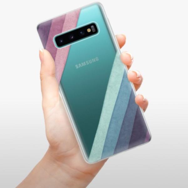 Odolné silikonové pouzdro iSaprio - Glitter Stripes 01 - Samsung Galaxy S10