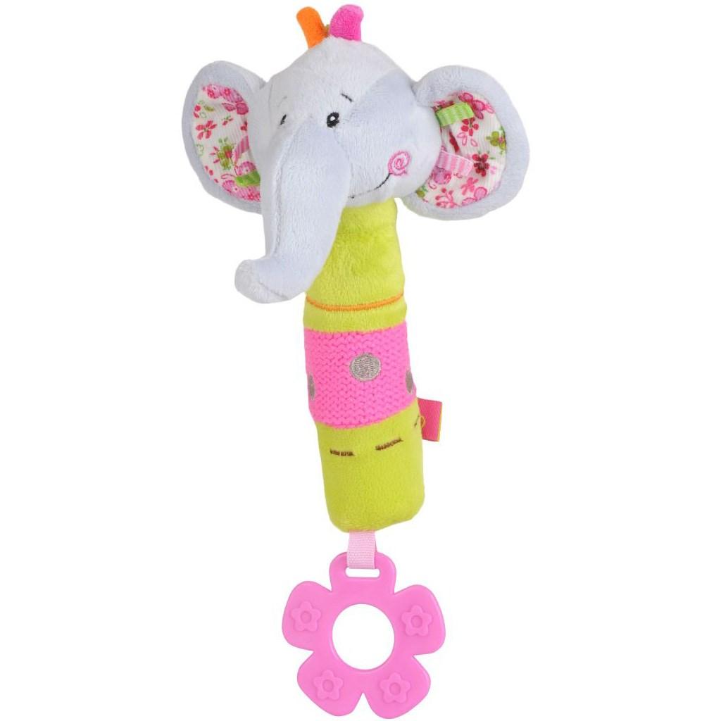 Plyšová pískací hračka s kousátkem Baby Ono sloník - bílá