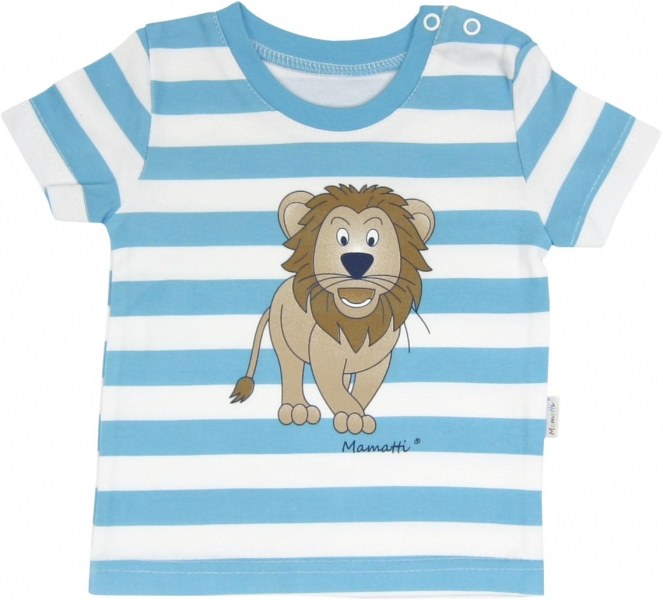 Bavlněné tričko Lev proužek - krátký rukáv - proužky, roz.