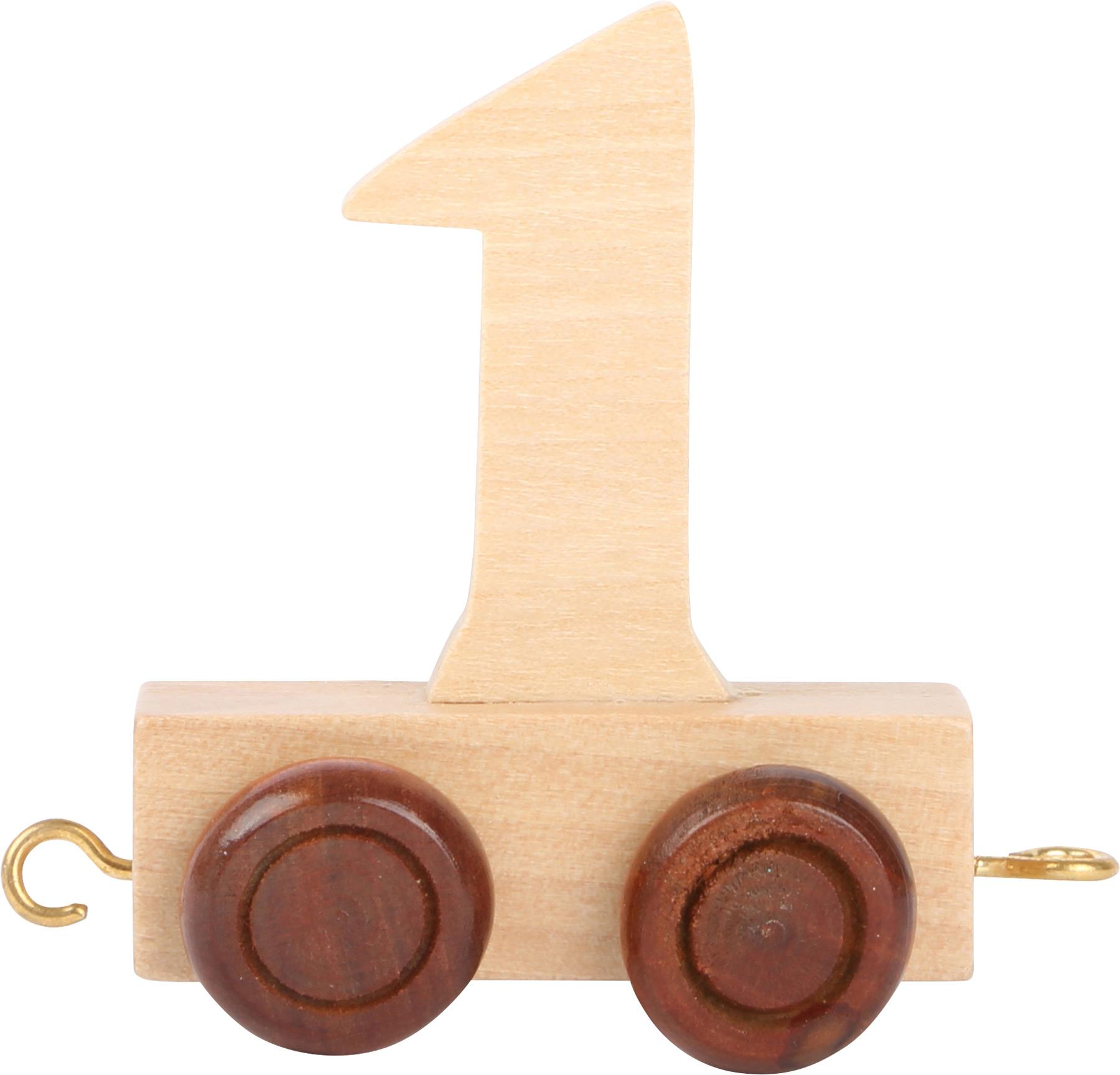 Vagónek dřevěné vláčkodráhy - přírodní číslice - číslo 1
