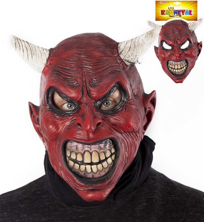 KARNEVAL Maska latexová čertovská ďábel KARNEVALOVÝ DOPLNĚK