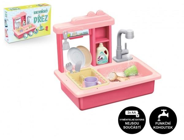 Dřez na mytí nádobí růžový + kohoutek na vodu na baterie plast s doplňky v krabici 46